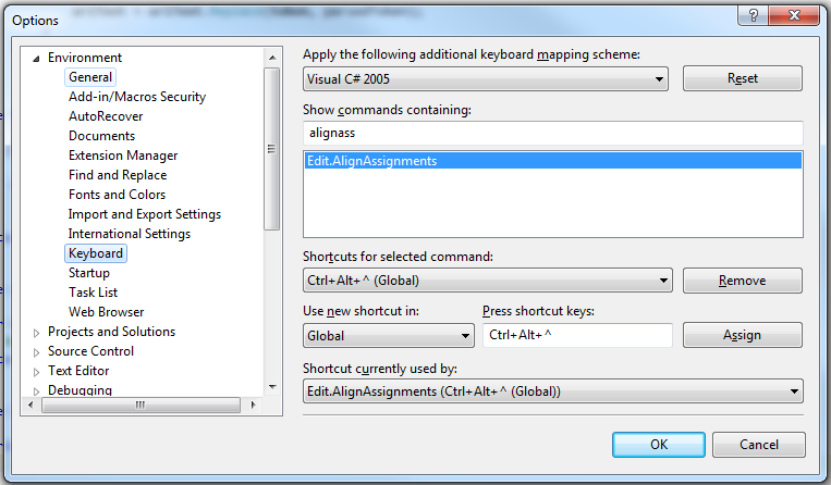 The VS2010 keyboard options.